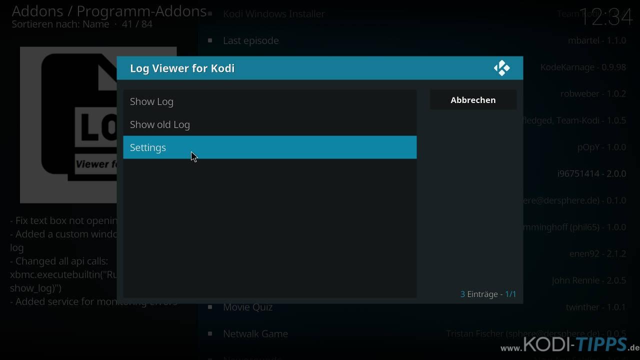 """Logdateien mit dem """"Log Viewer for Kodi"""" Addon öffnen - Schritt 6"""