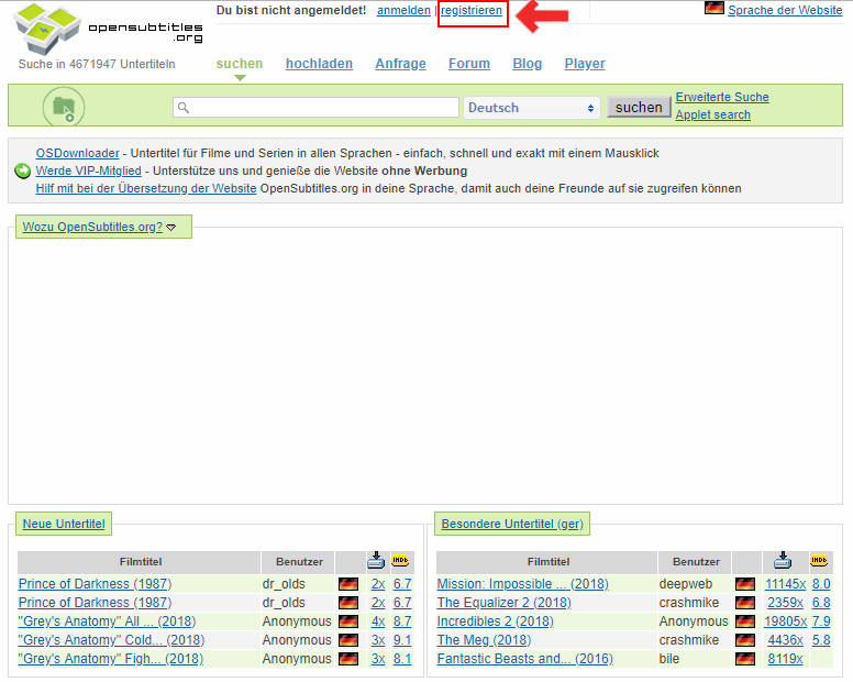 OpenSubtitles.org Konto einrichten - Schritt 1