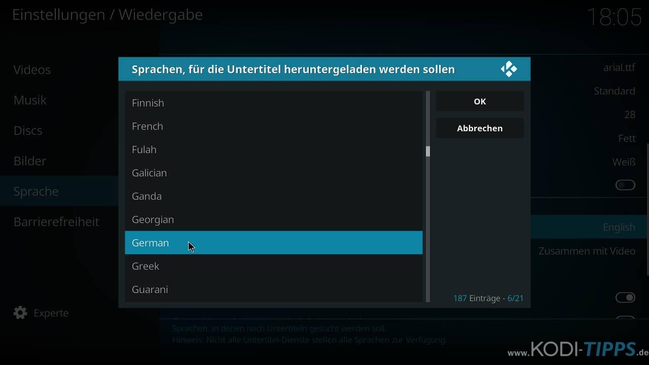 Sprache der Untertitel konfigurieren - Schritt 5
