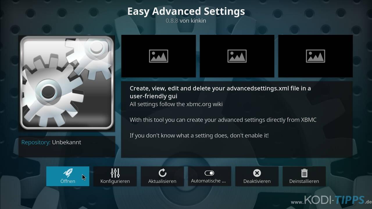 Kodi Cache mit den Easy Advanced Settings anpassen - Schritt 4