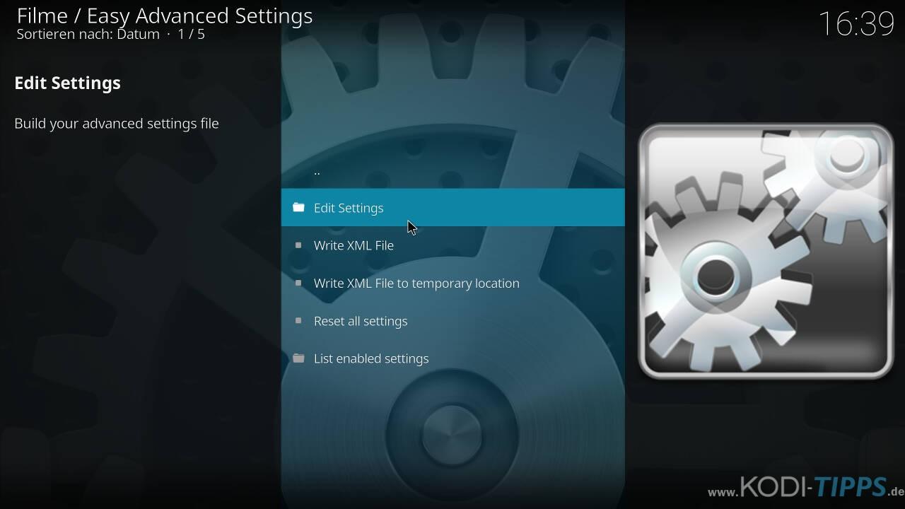 Kodi Cache mit den Easy Advanced Settings anpassen - Schritt 5