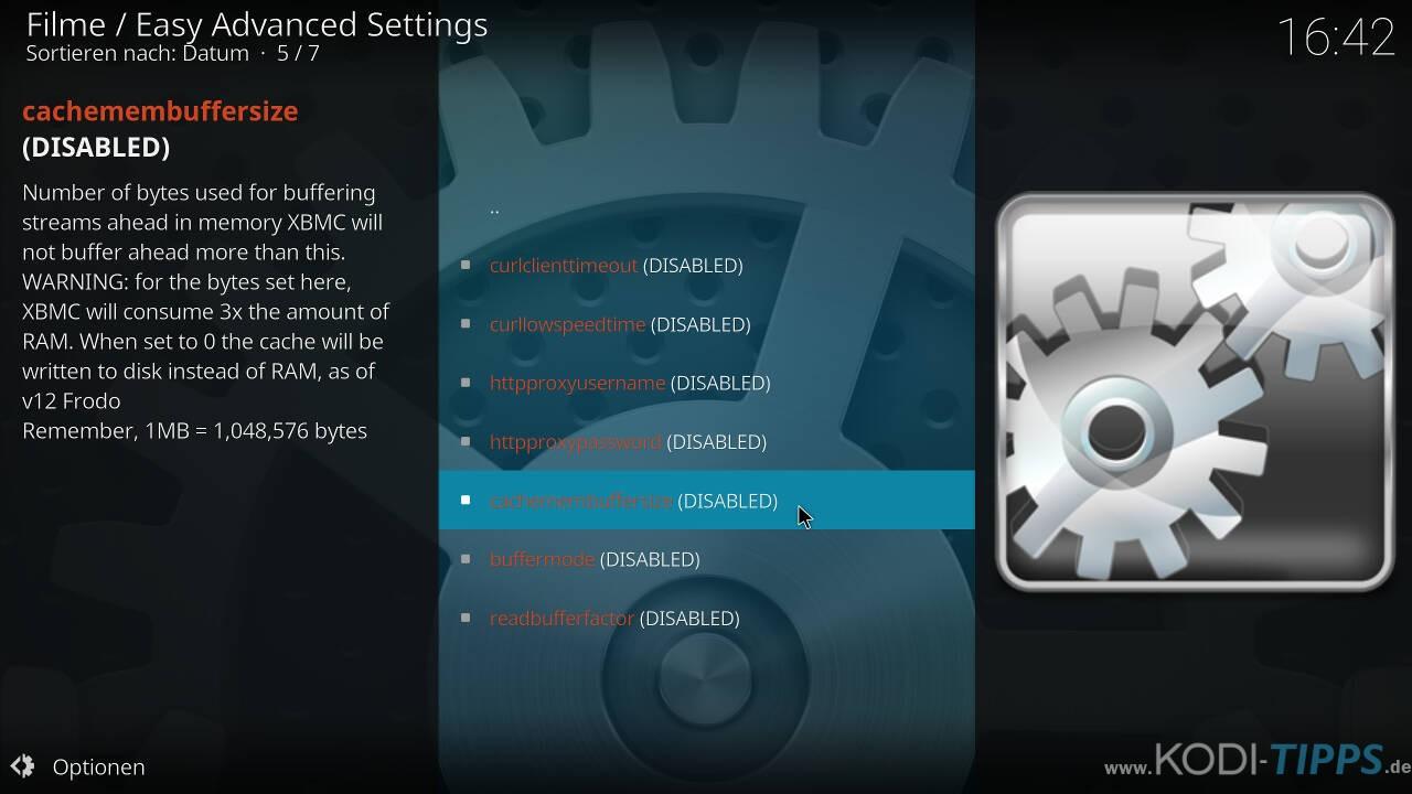 Kodi Cache mit den Easy Advanced Settings anpassen - Schritt 8
