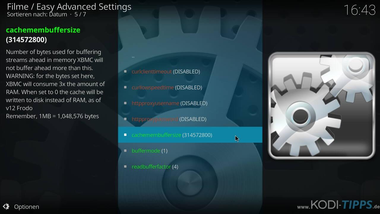 Kodi Cache mit den Easy Advanced Settings anpassen - Schritt 10