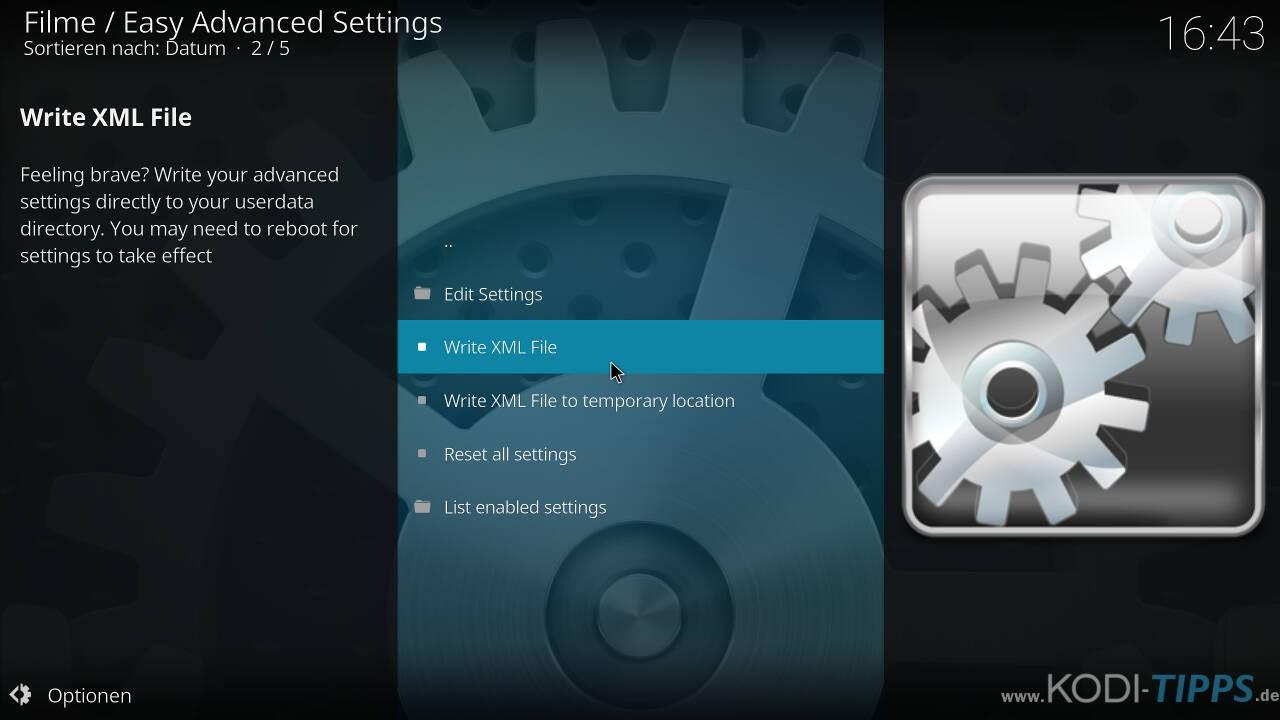Kodi Cache mit den Easy Advanced Settings anpassen - Schritt 11