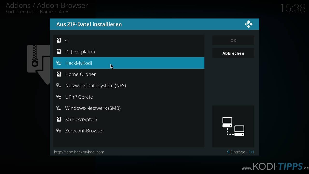 Easy Advanced Settings Kodi Addon installieren - Schritt 1