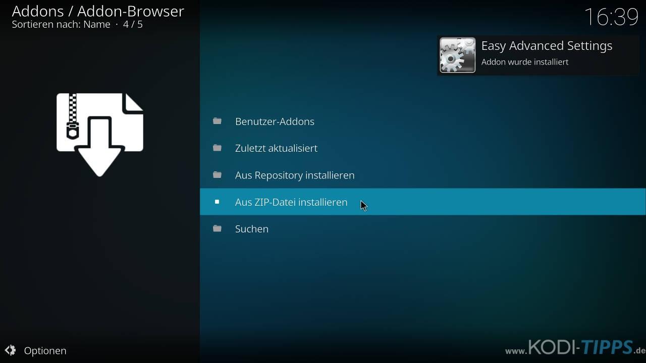 Easy Advanced Settings Kodi Addon installieren - Schritt 5
