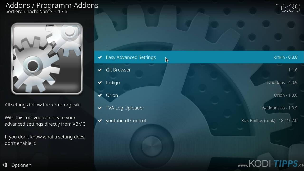 Kodi Cache mit den Easy Advanced Settings anpassen - Schritt 3