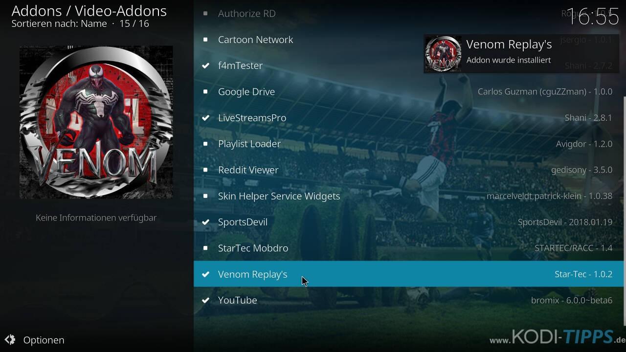 Venom Replay's Kodi Addon installieren - Schritt 10