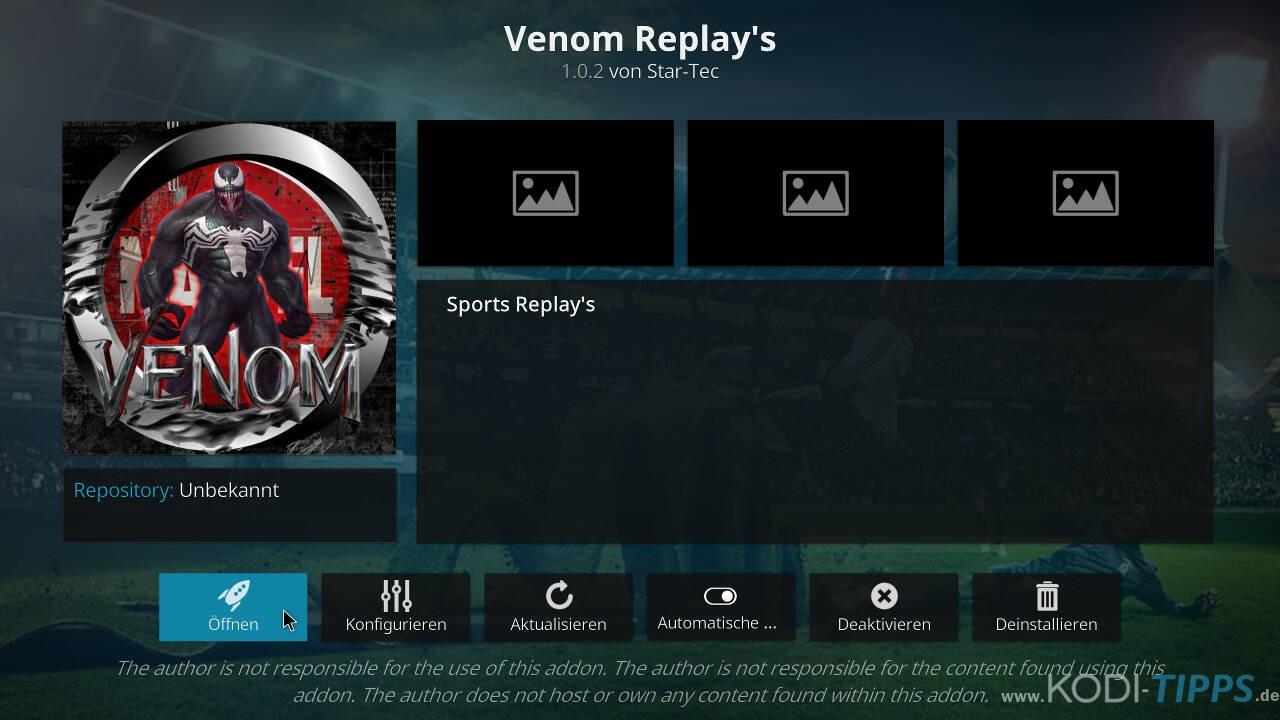 Venom Replay's Kodi Addon installieren - Schritt 11