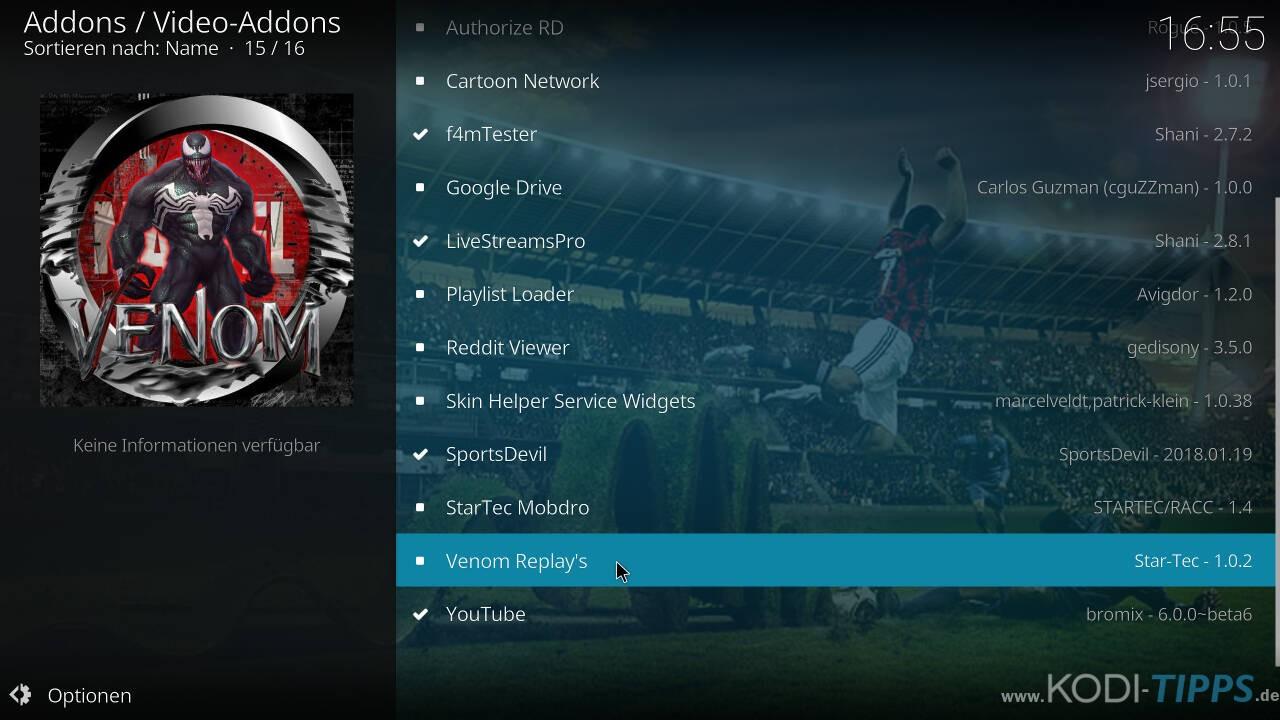 Venom Replay's Kodi Addon installieren - Schritt 8