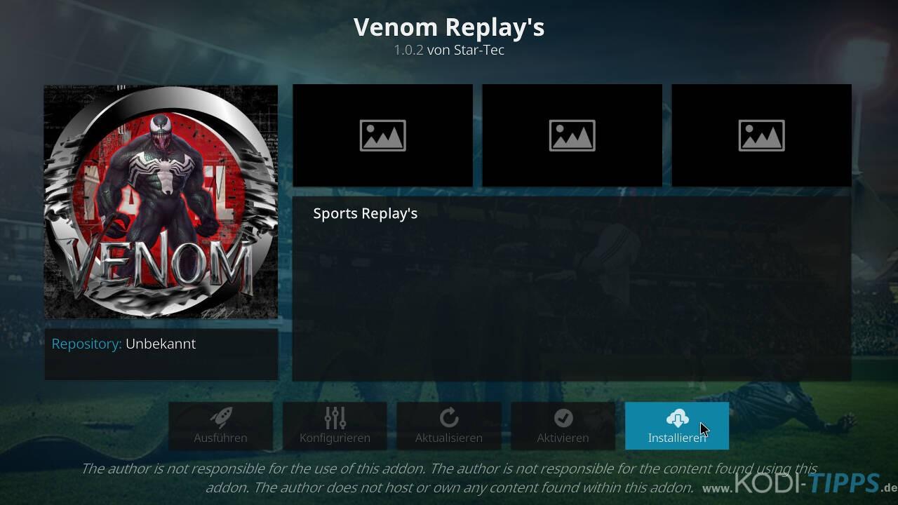 Venom Replay's Kodi Addon installieren - Schritt 9