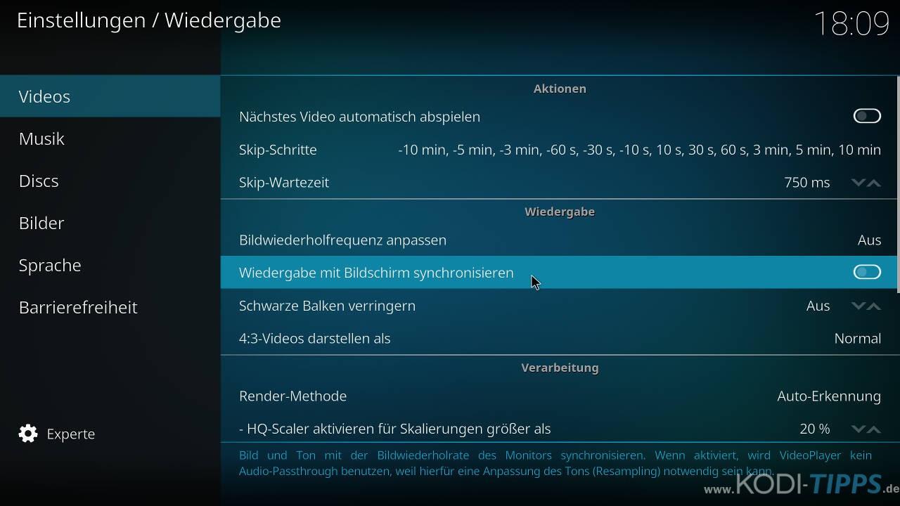 Kodi Einstellungen - Wiedergabe mit Bildschirm synchronisieren