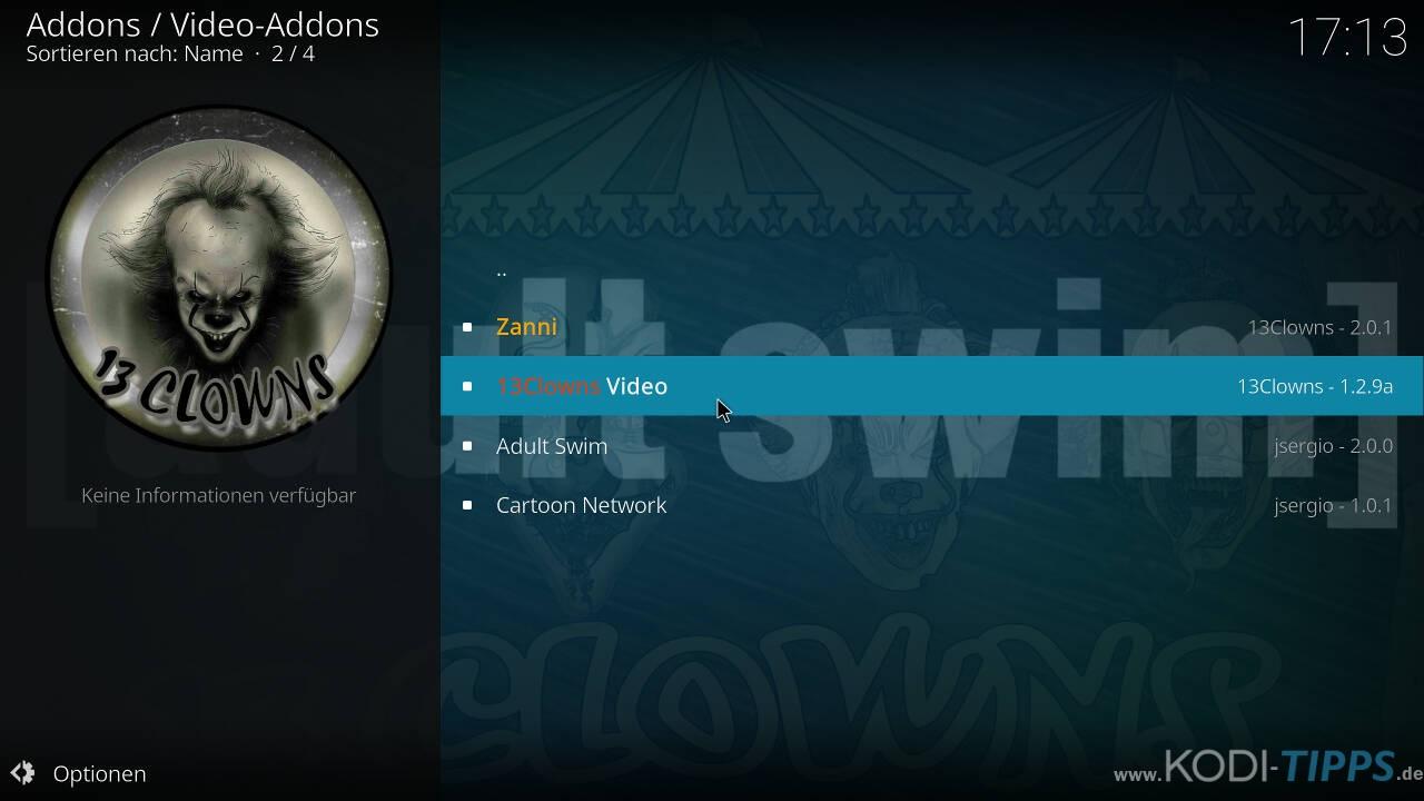 13Clowns Kodi Addon installieren - Schritt 7