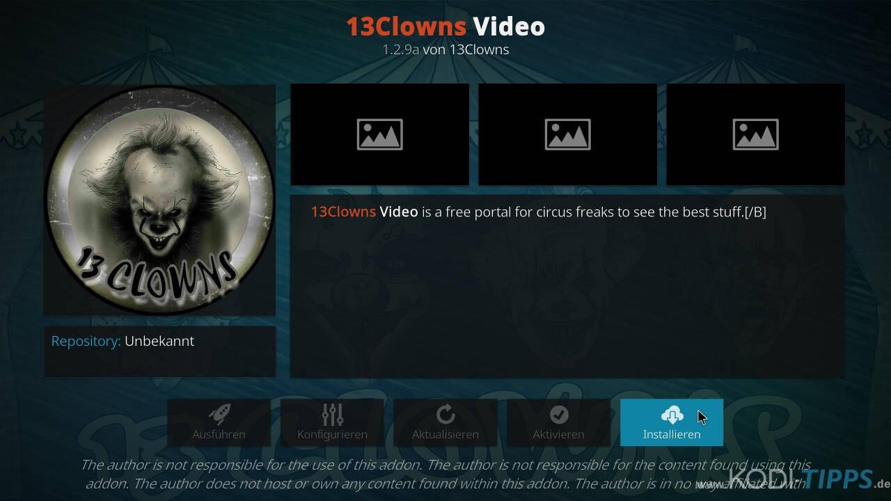 13Clowns Kodi Addon installieren - Schritt 8