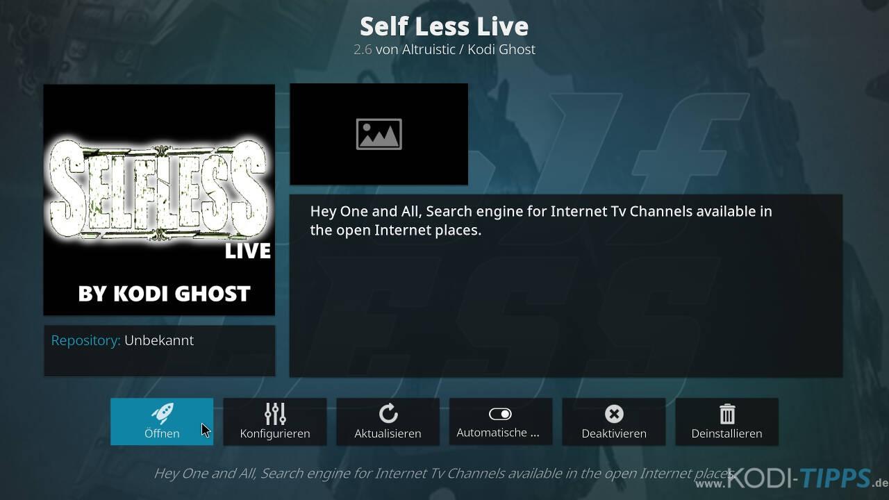 Self Less Live IPTV Kodi Addon installieren - Schritt 10