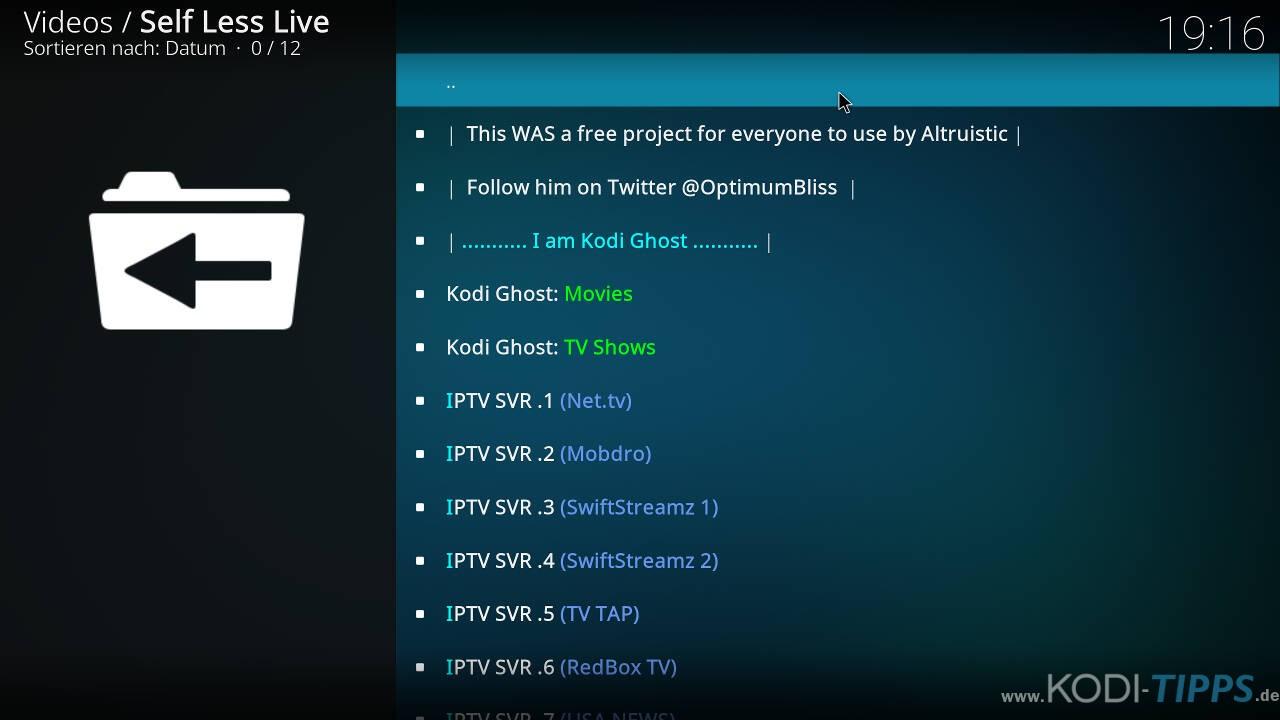 Self Less Live IPTV Kodi Addon installieren - Schritt 11
