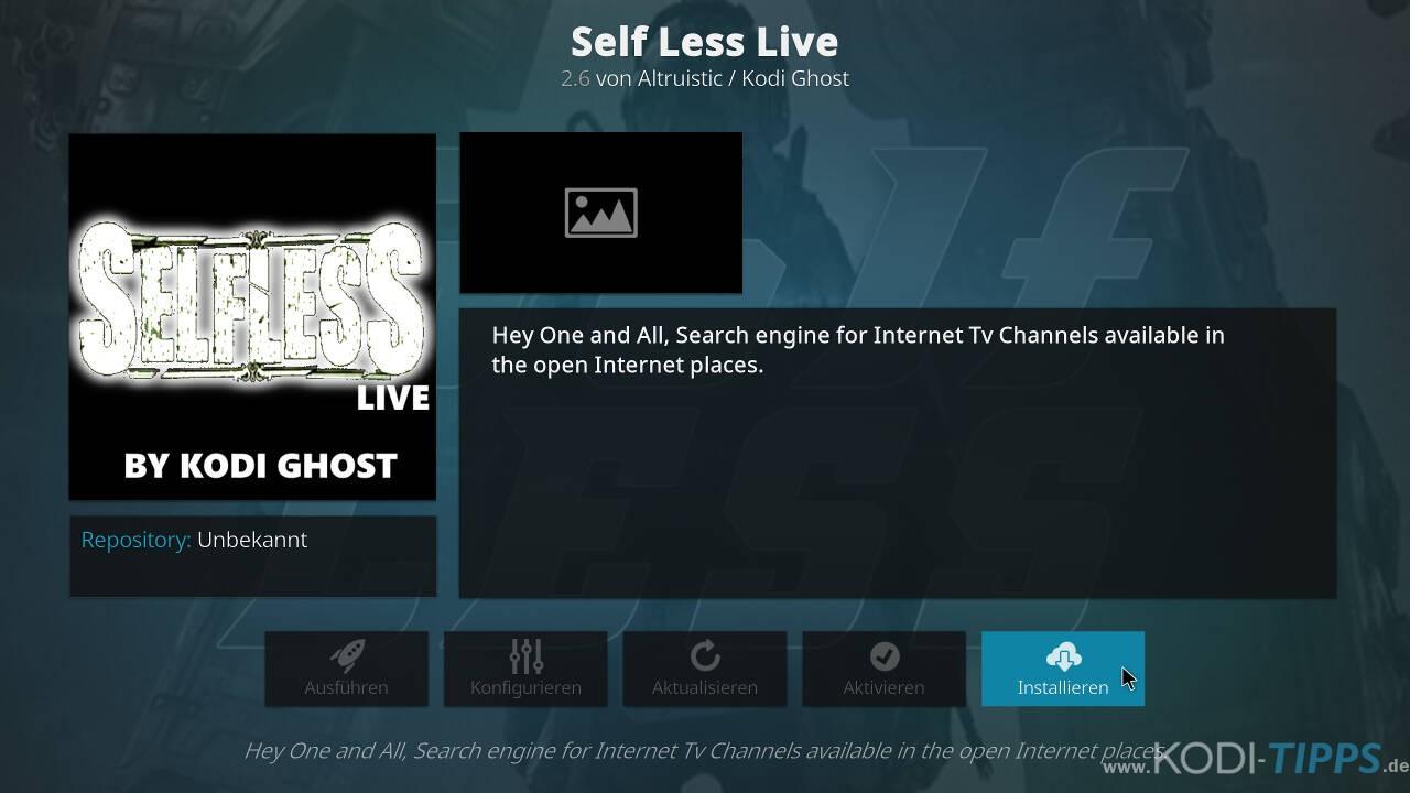Self Less Live IPTV Kodi Addon installieren - Schritt 8