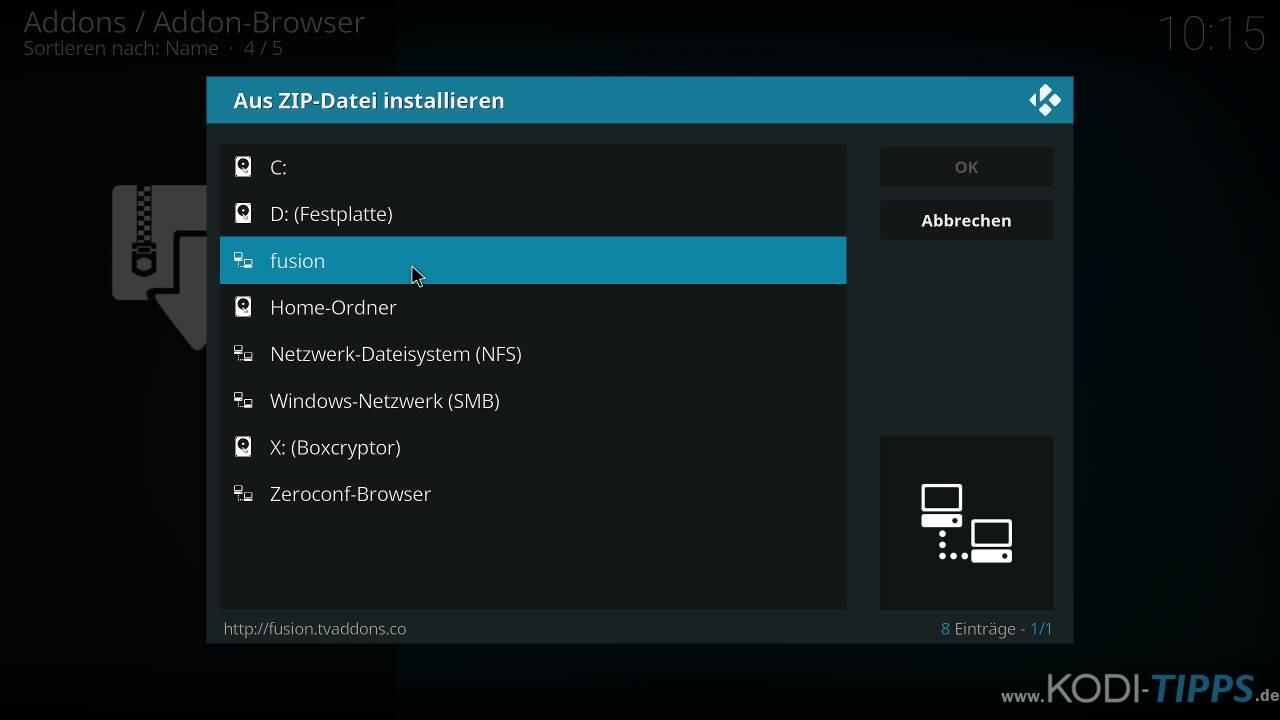 Lastship Kodi Addon OHNE Verschieben einer ZIP-Datei installieren - Schritt 1