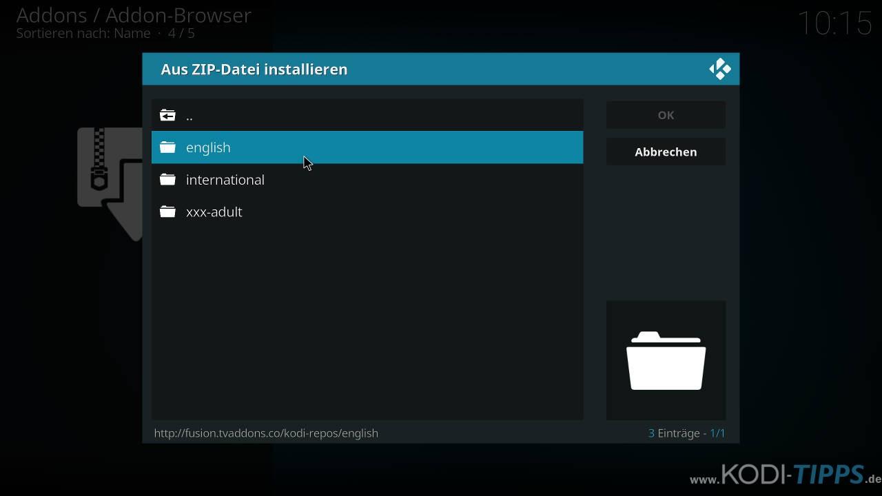 Lastship Kodi Addon OHNE Verschieben einer ZIP-Datei installieren - Schritt 3