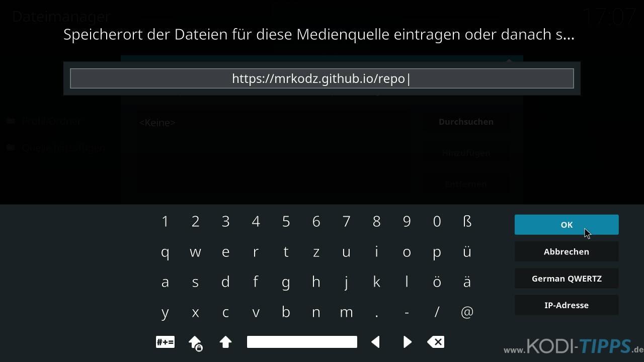 Kodi Medienquelle hinzufügen - URL eingeben