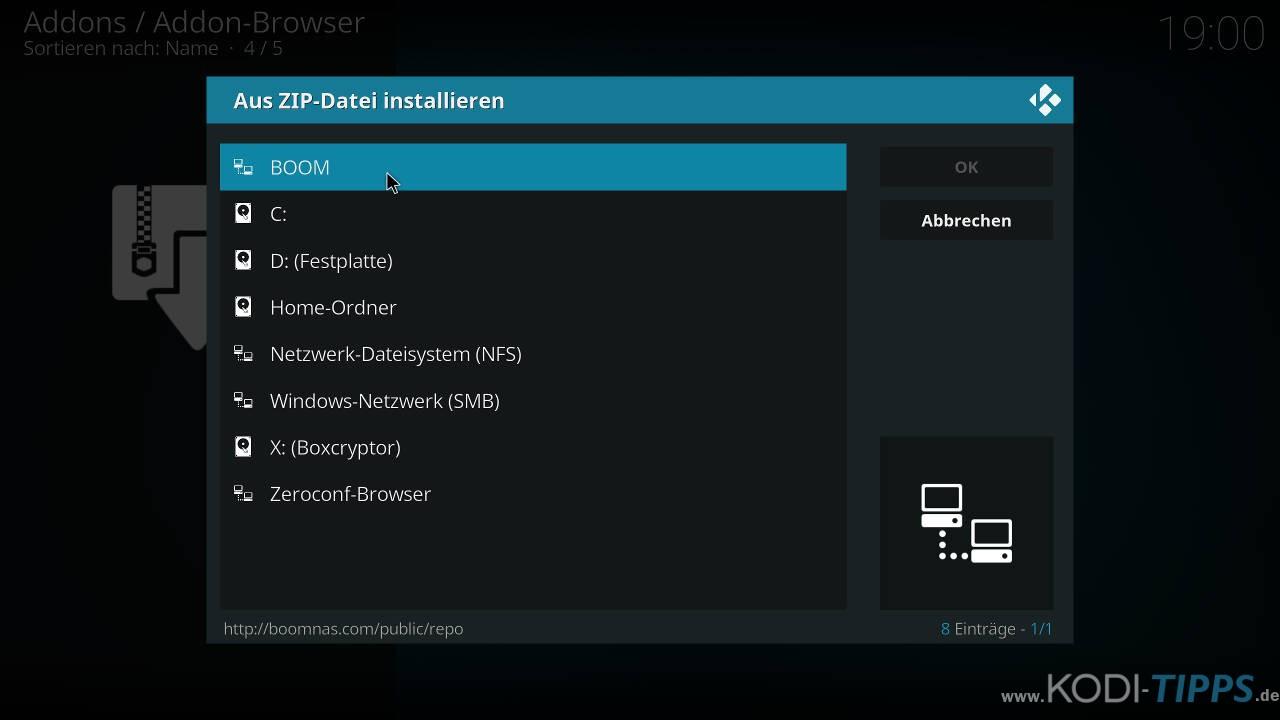 Boom Lite Kodi Addon installieren - Schritt 1