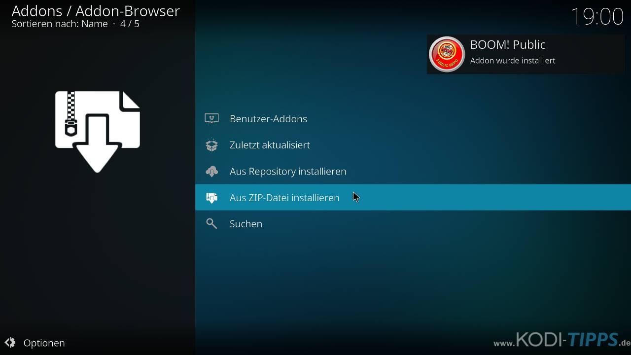 Boom Lite Kodi Addon installieren - Schritt 3