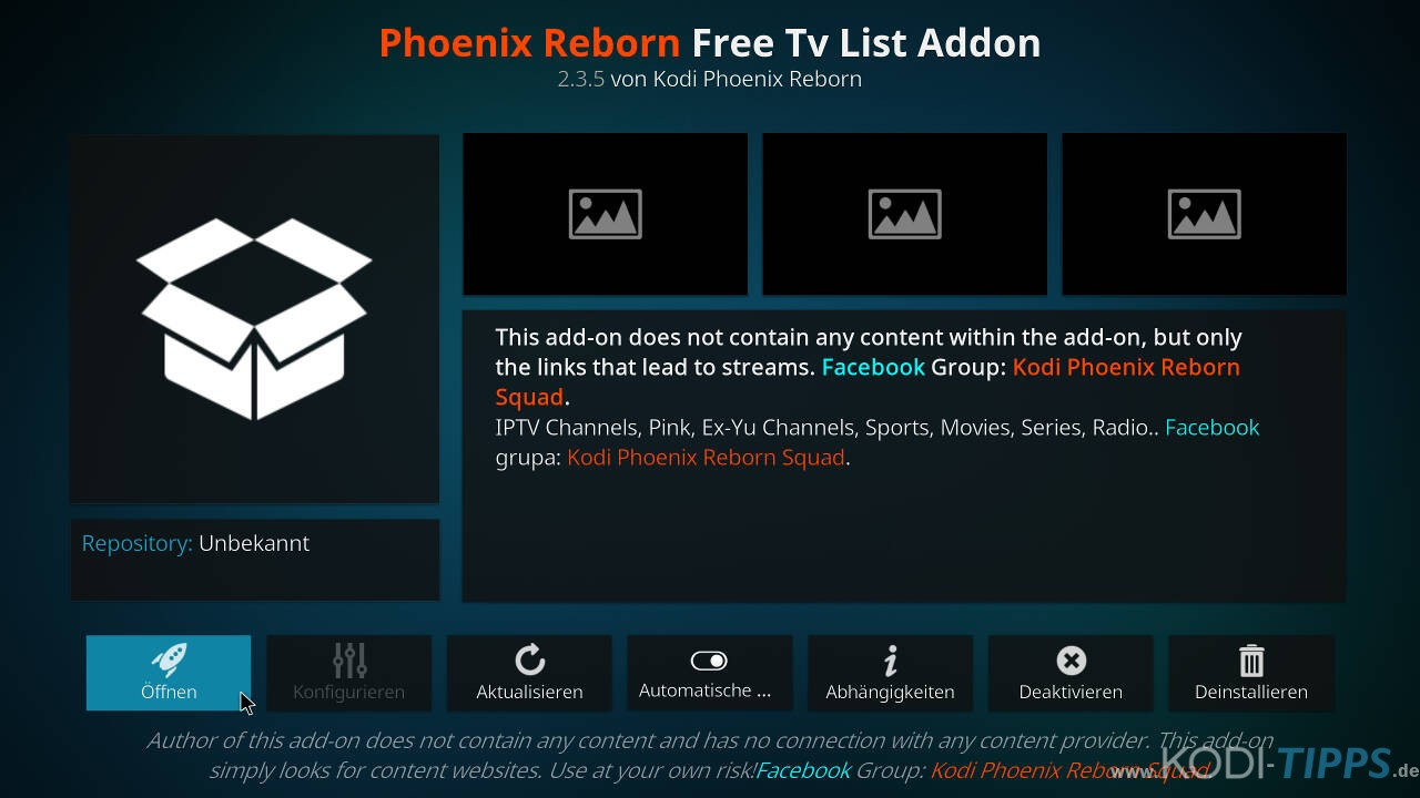 Phoenix Reborn IPTV Kodi Addon installieren - Schritt 11