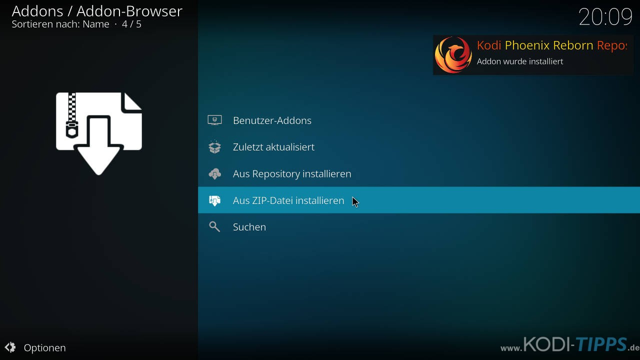 Phoenix Reborn IPTV Kodi Addon installieren - Schritt 3