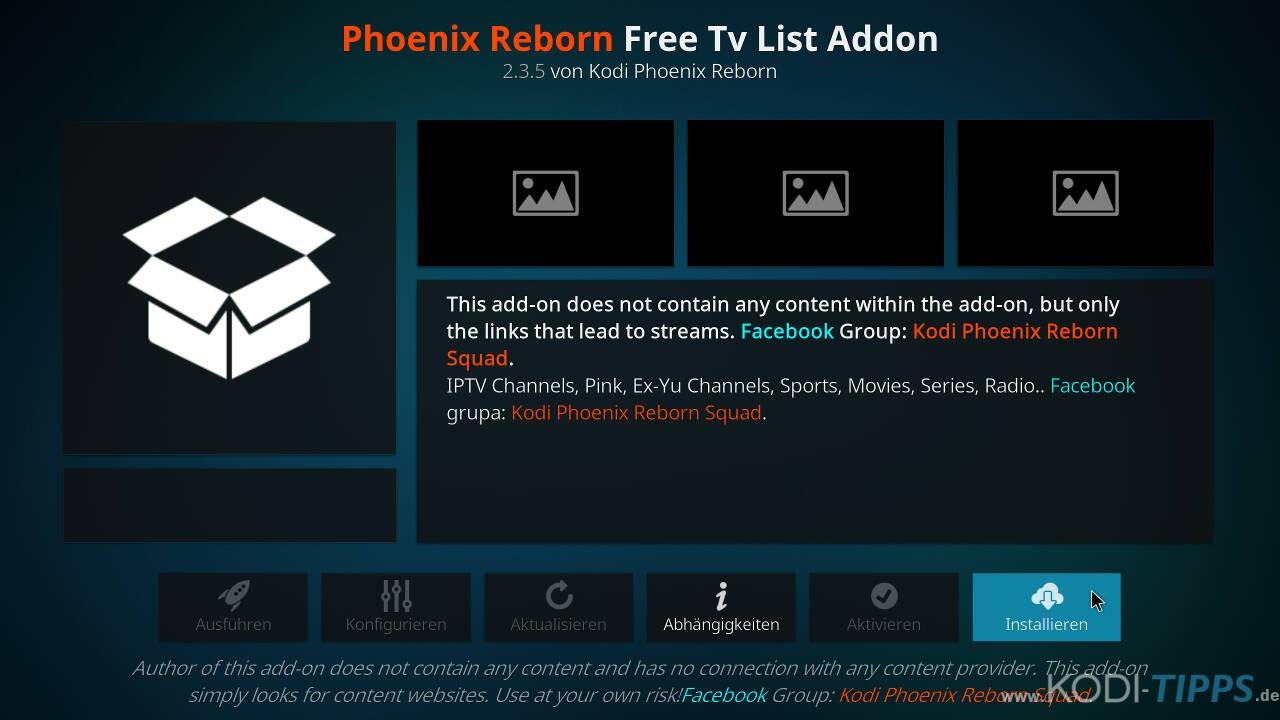 Phoenix Reborn IPTV Kodi Addon installieren - Schritt 8
