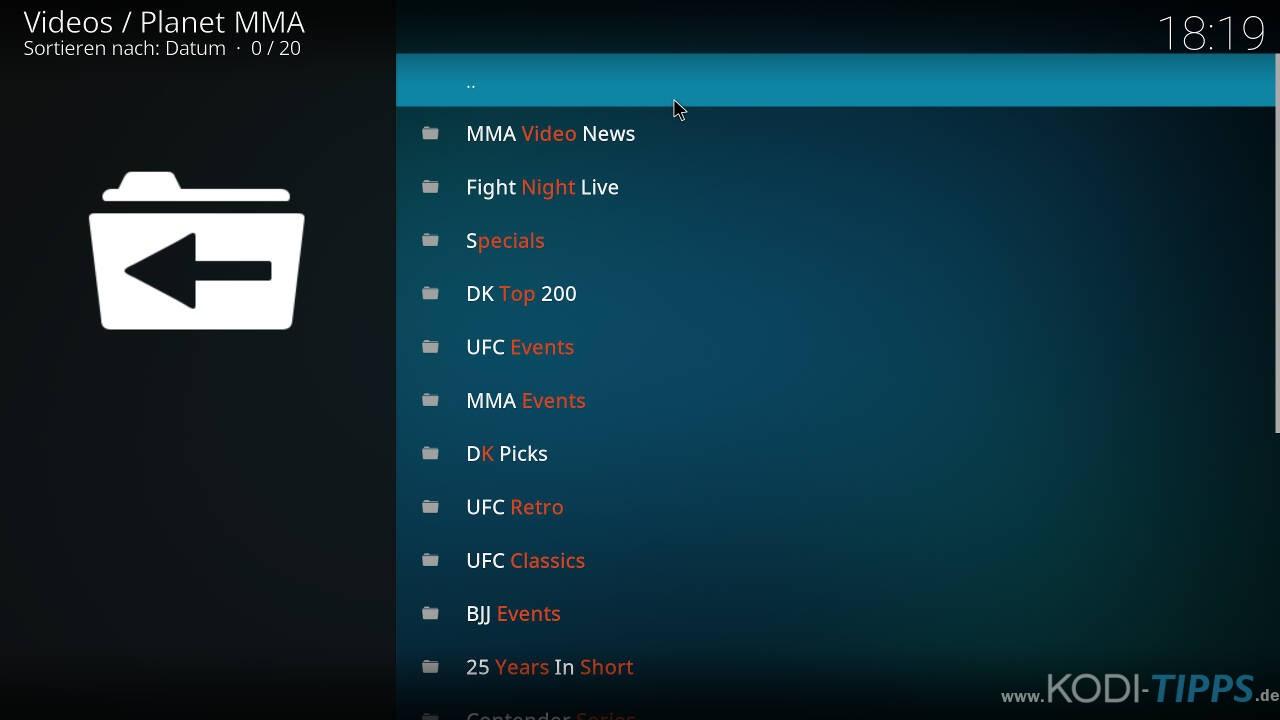 Planet MMA Kodi Addon installieren - Schritt 12