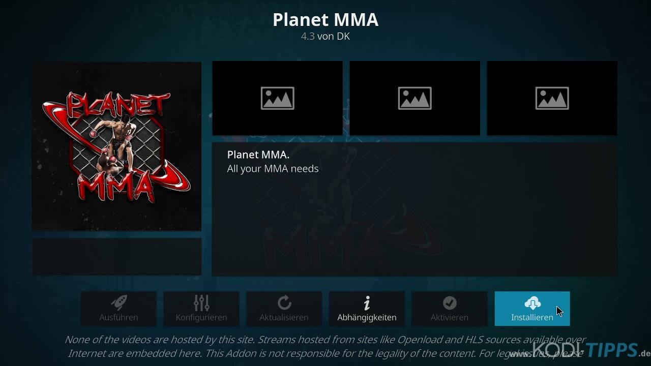 Planet MMA Kodi Addon installieren - Schritt 8