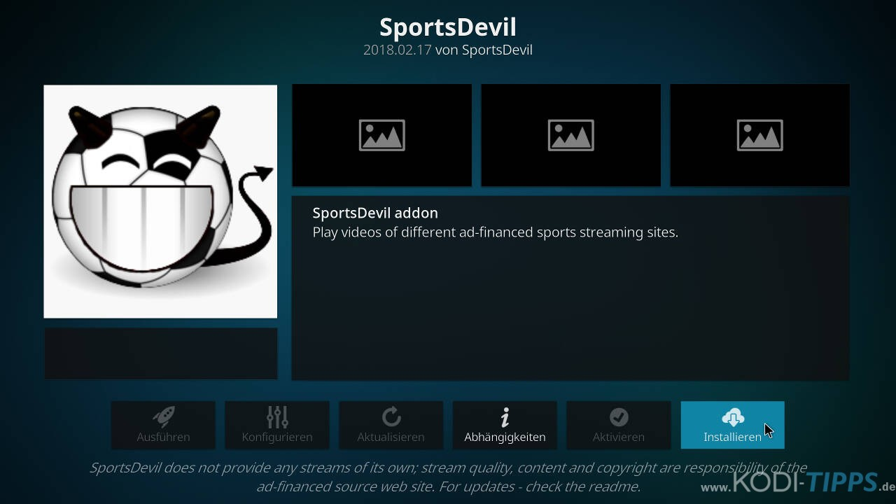 SportsDevil Kodi Addon installieren - Schritt 8
