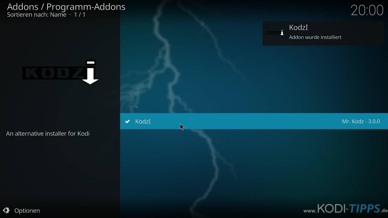 Kodzi Kodi Addon installieren - Schritt 10