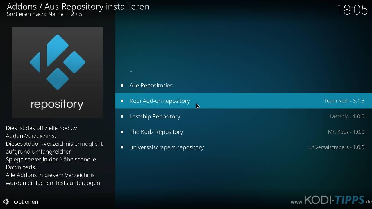 Kodi Addon-Browser - Kodi Addon Repository auswählen