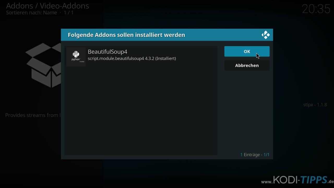 LAOLA1 Kodi Addon installieren - Schritt 8