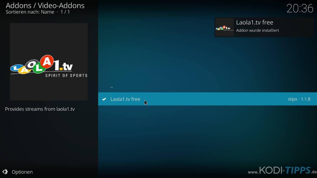 LAOLA1 Kodi Addon installieren - Schritt 9