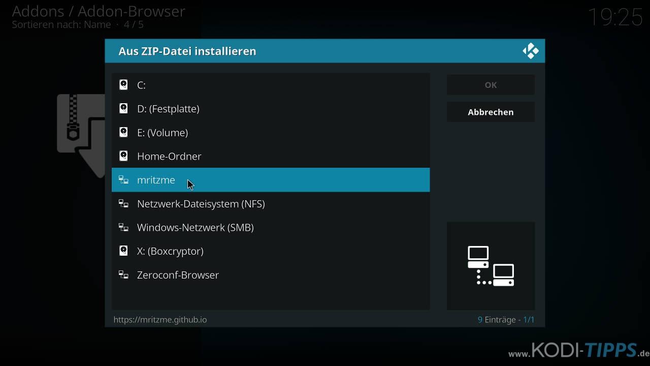 Modus Operandi Kodi Addon installieren - Schritt 1