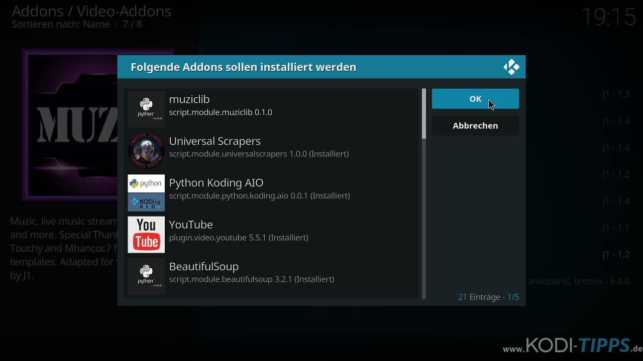 Muzic Kodi Addon installieren - Schritt 9