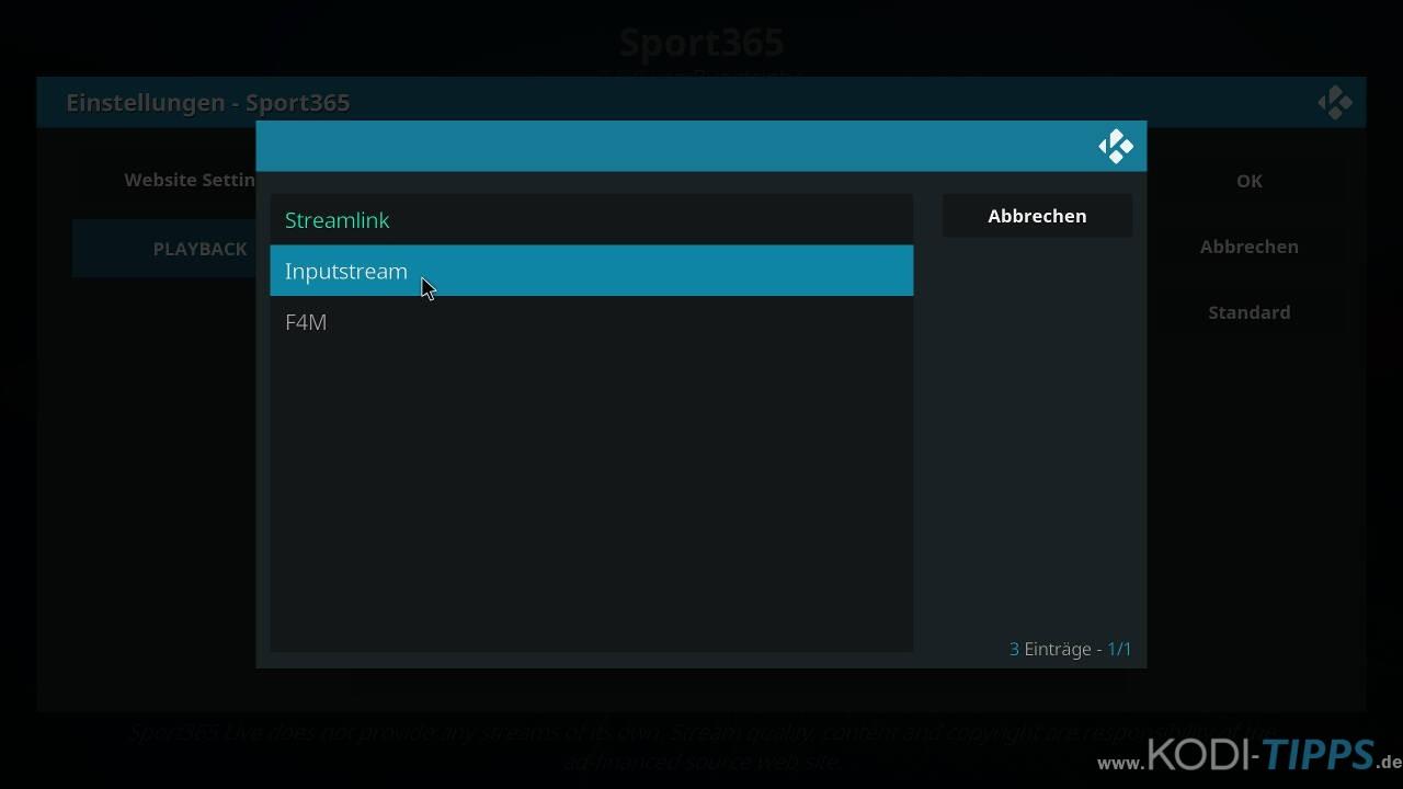 Sport 365 Kodi Addon Problembehandlung - Streams starten nicht - Schritt 4