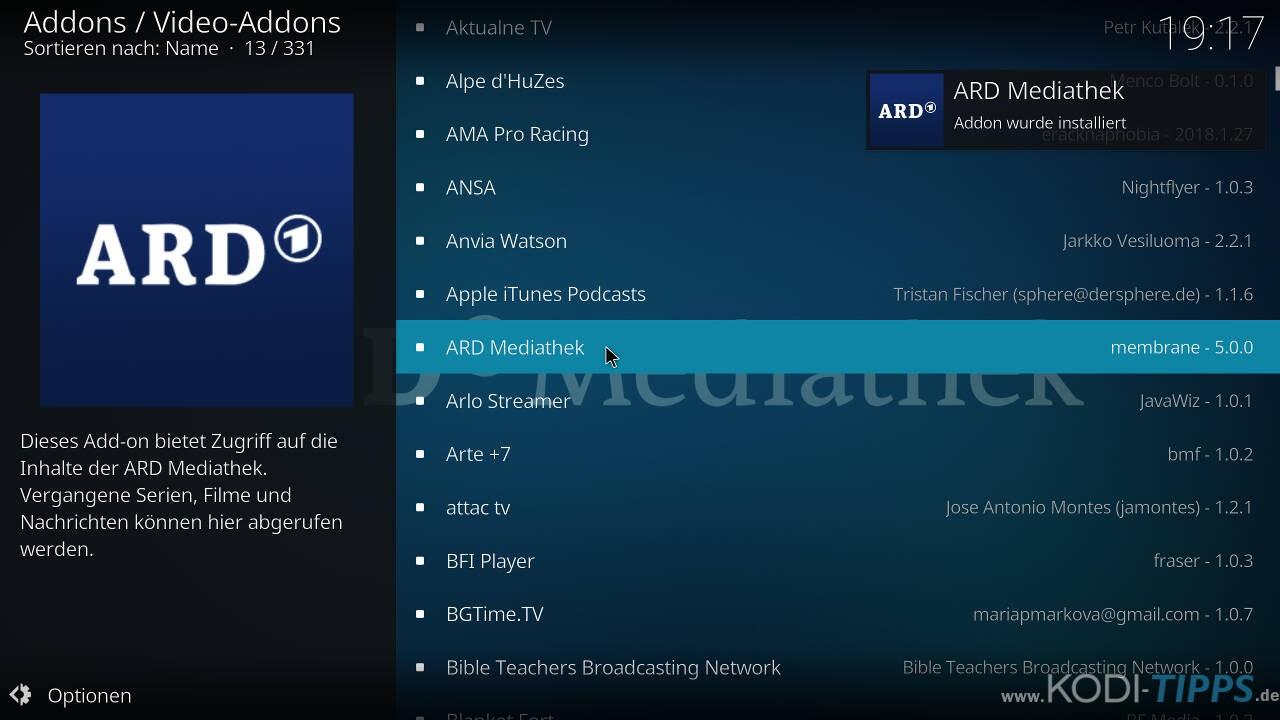 ARD Mediathek Kodi Addon installieren - Schritt 5