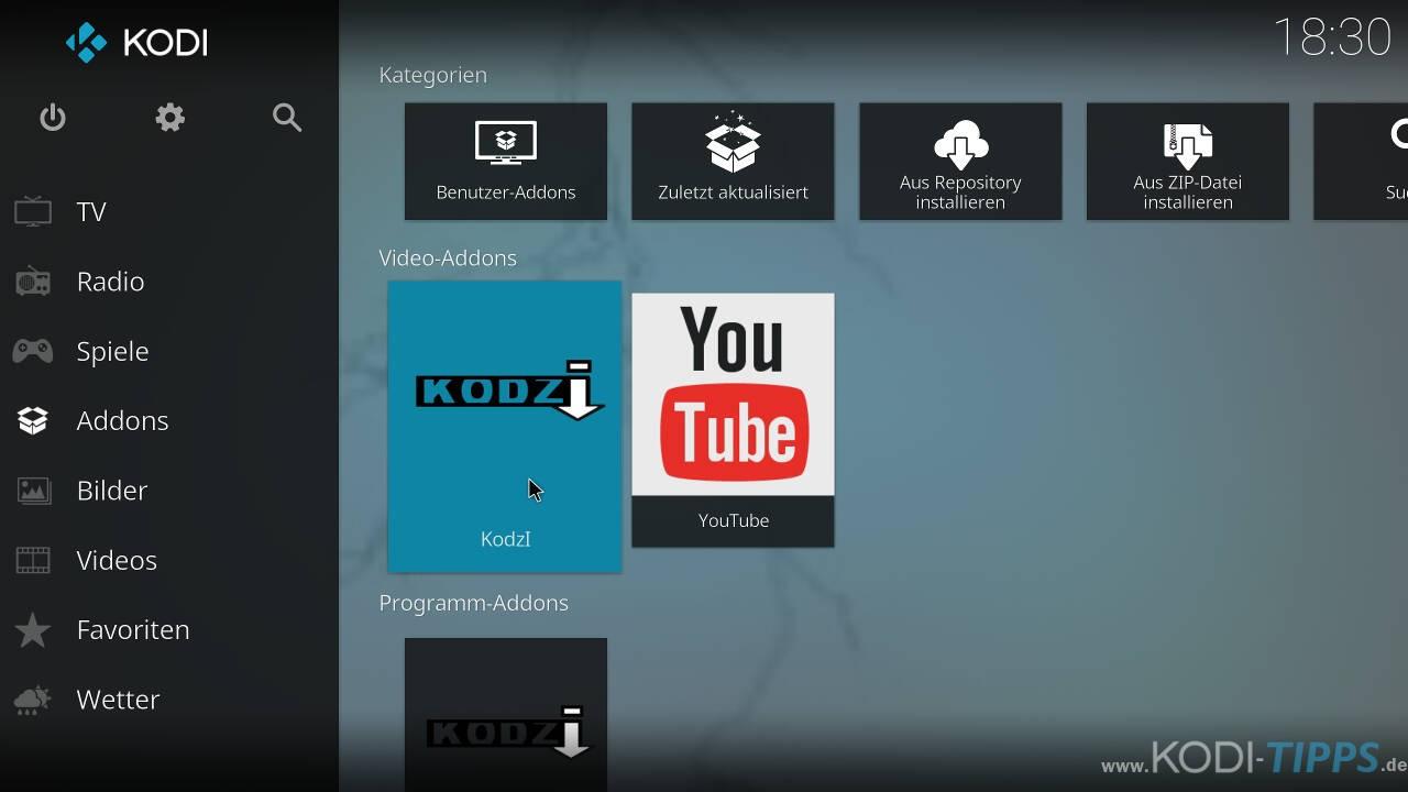 Lastship mit dem Kodzi Kodi Addon installieren - Schritt 1