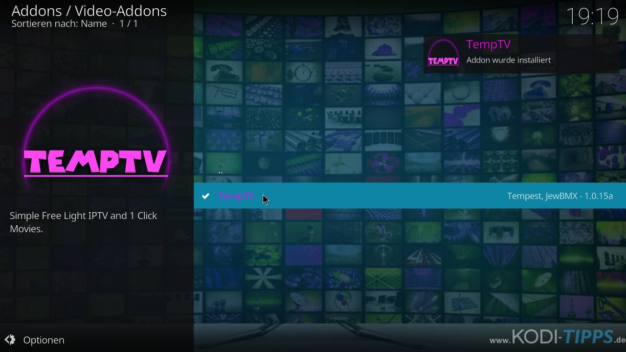 TempTV Kodi Addon installieren - Schritt 10