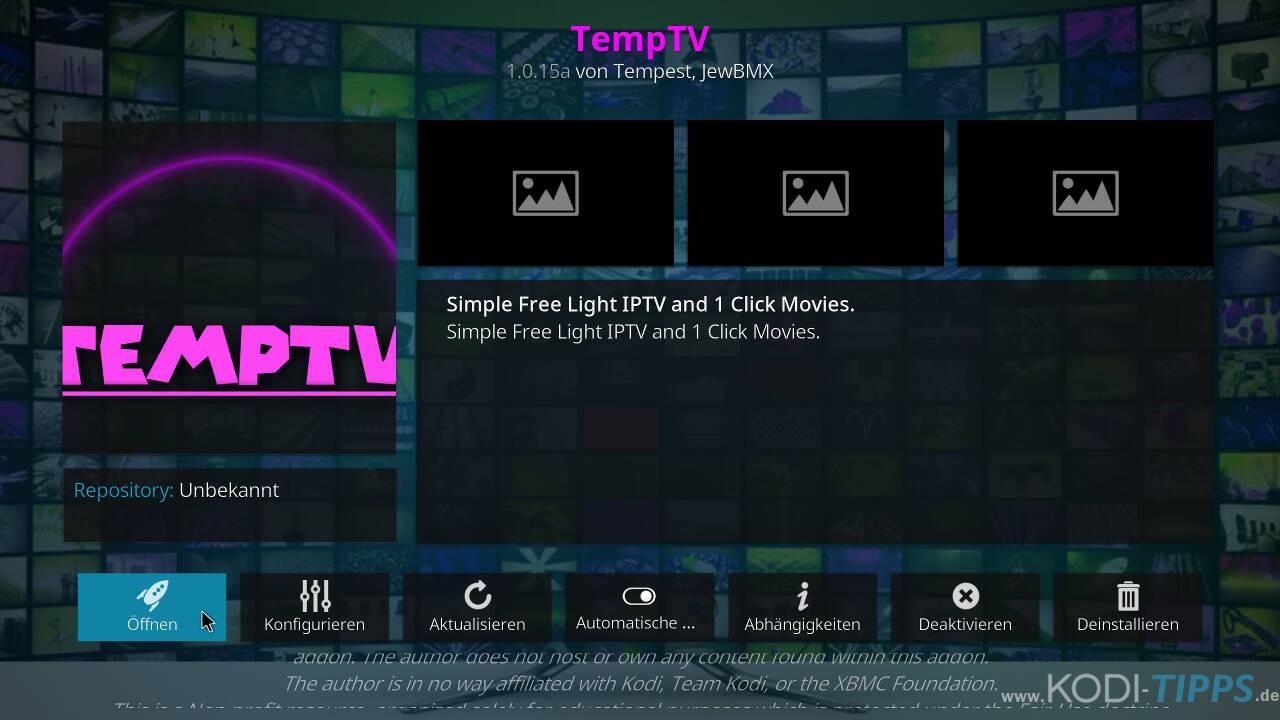 TempTV Kodi Addon installieren - Schritt 11