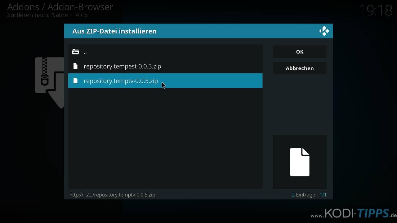 TempTV Kodi Addon installieren - Schritt 2