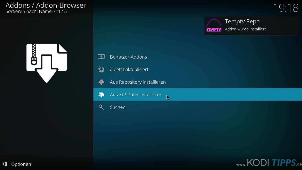 TempTV Kodi Addon installieren - Schritt 3