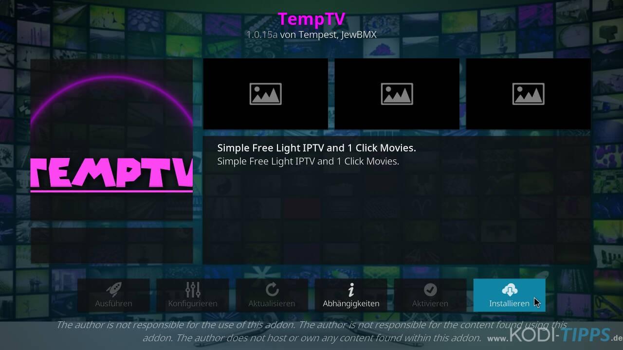 TempTV Kodi Addon installieren - Schritt 8