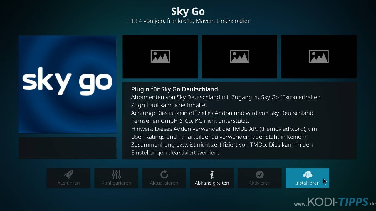 Sky Go Kodi Addon installieren - Schritt 2