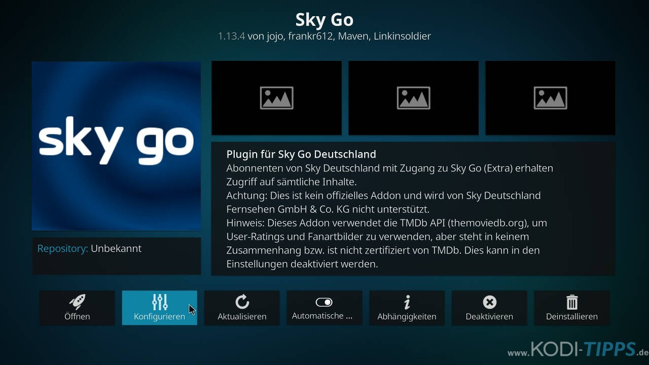 Sky Go Kodi Addon installieren - Schritt 5