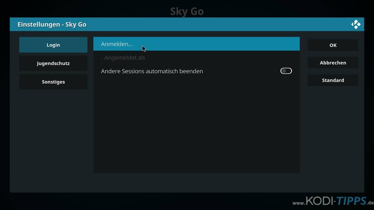 Sky Go Kodi Addon installieren - Schritt 6