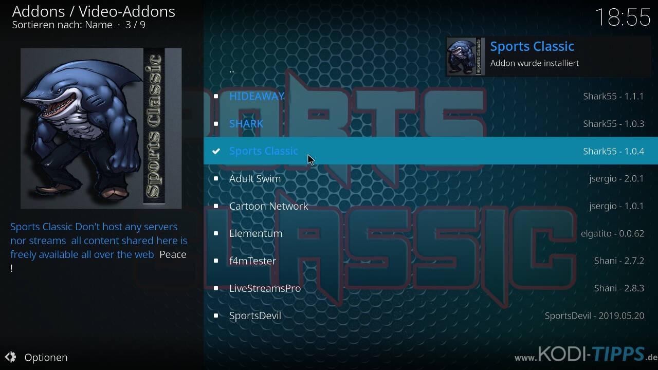 Sports Classic Kodi Addon installieren - Schritt 10